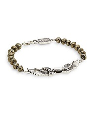 King Baby Studio Wingspan Beaded Sterling Silver Bracelet Gold Silver