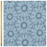 Unbranded Large Daisies Print Fabric Powder Blue