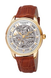 Akribos Xxiv Men's Mechanical Genuine Leather Strap Watch Metallic