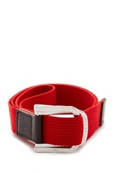 Parke And Ronen Battalion D Ring Leather Trim Belt Red