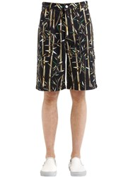 Kenzo Bamboo Printed Cotton Shorts Black