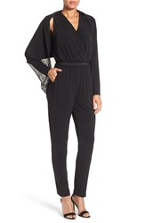 Kobi Halperin Women's 'Yasmin' Shrug Draped V Neck Jumpsuit Black