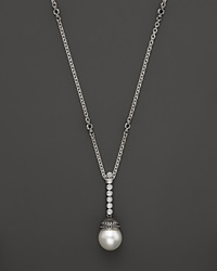 Lagos Luna Sterling Silver Cultured Freshwater Pearl And Diamond Strand Drop Necklace 16 Silver Multi