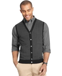 Van Heusen Big And Tall Houndstooth Button Down Vest Bl Blck Rs