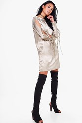 Boohoo Lace Up Satin Shift Dress Beige