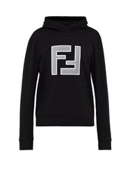 Fendi Mesh Logo Print Hooded Cotton Sweatshirt Black Multi