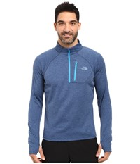The North Face Impulse Active 1 4 Zip Pullover Shady Blue Heather Shady Blue Men's Long Sleeve Pullover