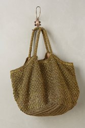 Anthropologie Crocheted Metallic Tote Gold