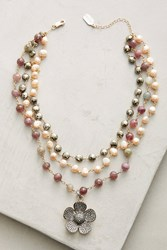 Anthropologie Layered Flower Necklace Pink