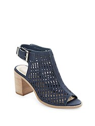Vince Camuto Triana Stacked Heel Open Toe Sandals Midnight