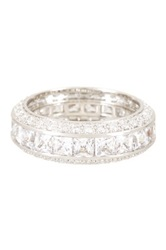 Pave Trim Princess Cut Simulated Diamond Eternity Band Metallic