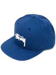 Stussy Embroidered Logo Cap Men Cotton One Size Blue
