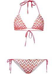 Missoni Chevron Pattern Bikini Red