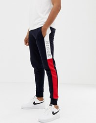 Nicce London Skinny Joggers In Navy Colour Block