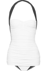 Norma Kamali Bill Mio Ruched Two Tone Halterneck Swimsuit White