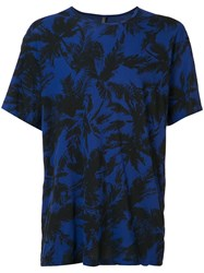 Attachment Palm Tree Print T Shirt Blue