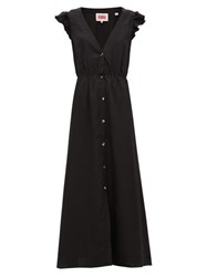Solid And Striped Ruffled Shoulder Crepe Maxi Dress Black