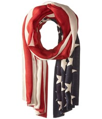 San Diego Hat Company Bss1701 Woven American Flag Print Scarf Red Scarves