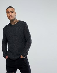 Asos Mesh Knitted Relaxed Fit Jumper In Washed Black Washed Black