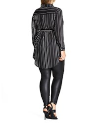 City Chic Long Sleeve Striped Tunic Black