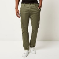 River Island Mens Green Stretch Slim Chino Trousers
