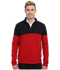 1 4 Zip Color Block Jersey Sweater Nautica Red Men's Sweater