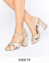 New Look Wide Fit Cross Block Heel Gold Shimmer