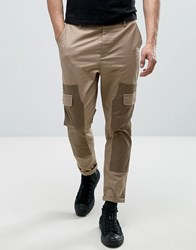 Asos Skinny Cut And Sew Cargo Trousers Stone