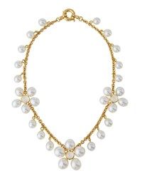 Prince Dimitri For Assael 18K Pearl And Moonstone Flower Station Necklace Women's