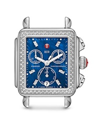 Michele Deco Diamond Blue Dial Watch Head 33Mm Blue Stainless Steel