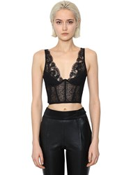 Ermanno Scervino Sleeveless Lace Crop Top Black