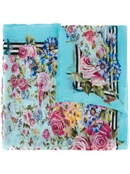 Dolce And Gabbana Printed Scarf Blue