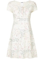 Chanel Vintage Printed Skater Dress White