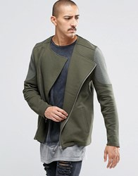 Asos Jersey Biker Jacket With Quilted Panels In Khaki Khaki Green
