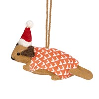 Fiona Walker Felt Dog With Hat And Coat Tree Decoration