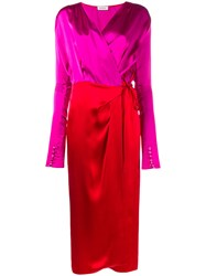 Attico Gabriela Long Sleeve Wrap Dress Pink And Purple