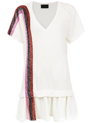Andrea Bogosian Short Embroidered Dress White