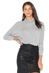 Bobi Draped Rib Long Sleeve Turtleneck Top Gray