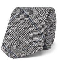 Hackett 8Cm Prince Of Wales Checked Wool Tie Gray