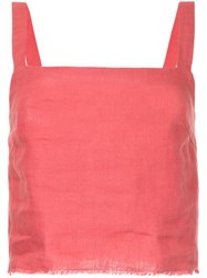 Venroy Frayed Cropped Blouse Pink And Purple