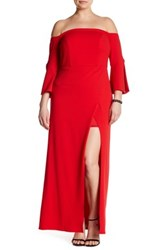 Abs By Allen Schwartz Off The Shoulder Bell Sleeve Gown Plus Size Red