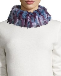 Gp Luxe Knitted Rabbit Fur Funnel Scarf Lavender Camo