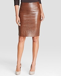 Max Mara Ecuba Ostrich Embossed Faux Leather And Jersey Skirt Dark Brown