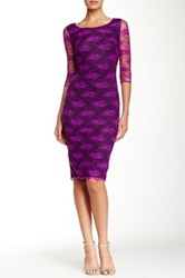 Alexia Admor 3 4 Length Sleeve Lace Dress Purple