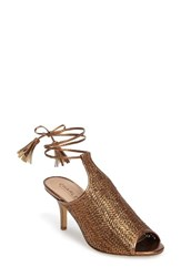 Charles By Charles David Women's Niko Ankle Tie Sandal Bronze Basket Woven Fabric