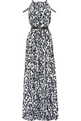 Issa Chantel Leopard Print Crepe Maxi Dress Off White