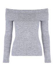 Jane Norman Grey Bardot Top Grey Marl