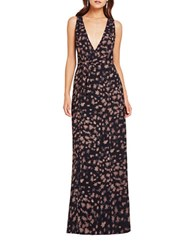 Bcbgeneration Printed Surplice Maxi Dress Taupe Combo