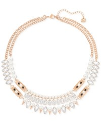 Swarovski Rose Gold Tone Imitation Pearl And Crystal Double Layer Statement Necklace