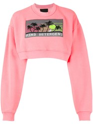 Alexander Wang Cropped 'Mind Detergent' Sweatshirt Pink Purple